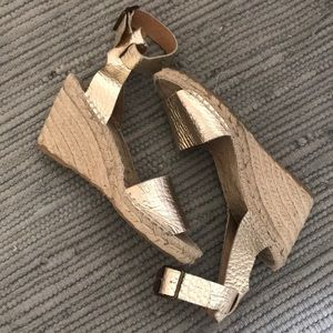 J.Crew Gold Leather Espadrille Wedges - 6